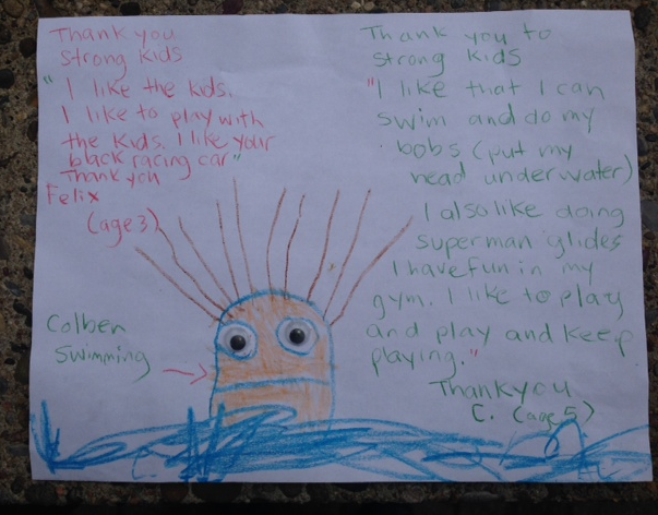 Strong Kids Thank You Letter and Drawing