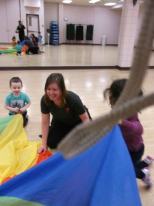 ECY -Jana playing with the children in the gym
